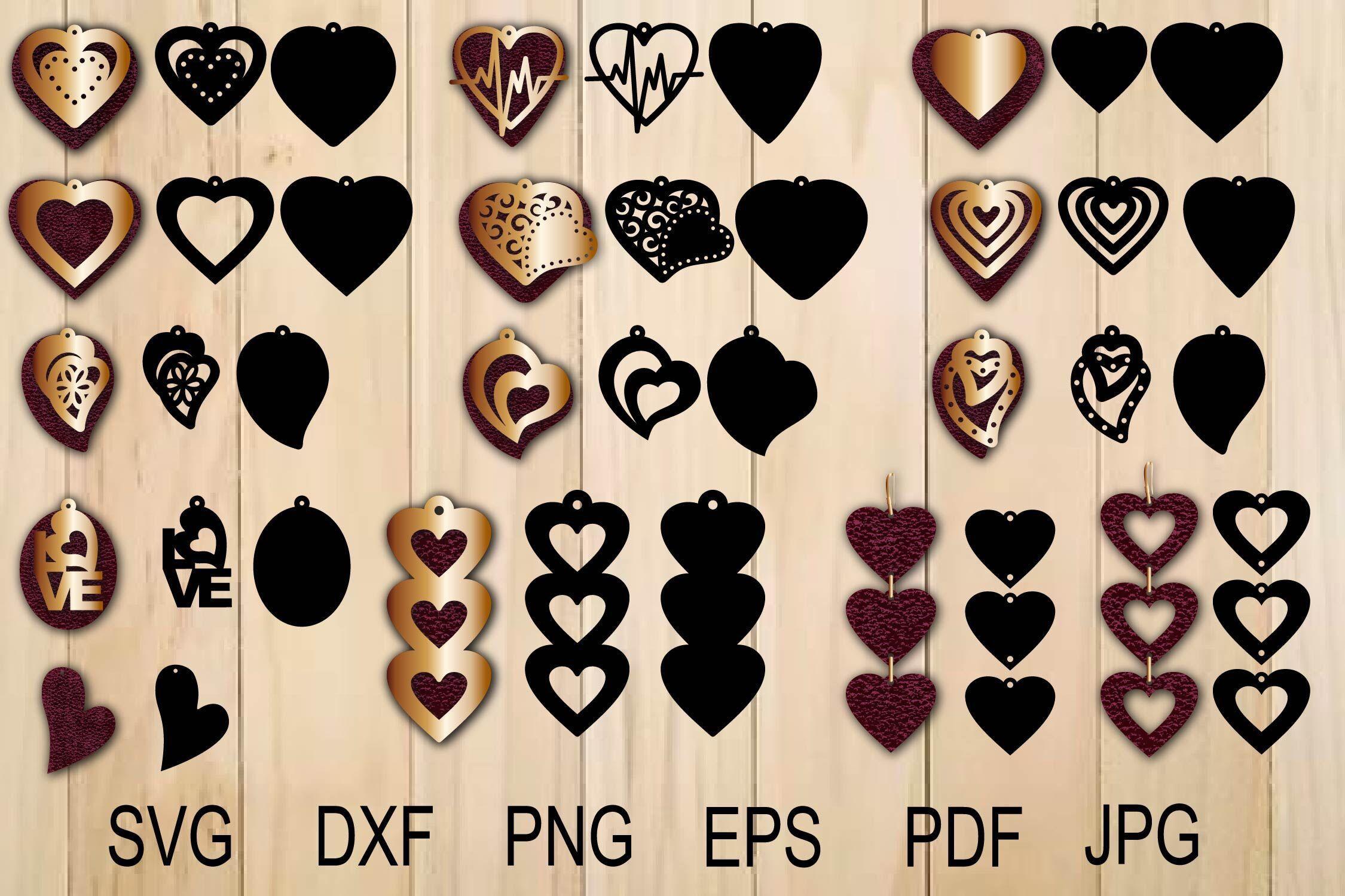 Heart Earring Svg Valentine Earrings Earrings Svg Earrings