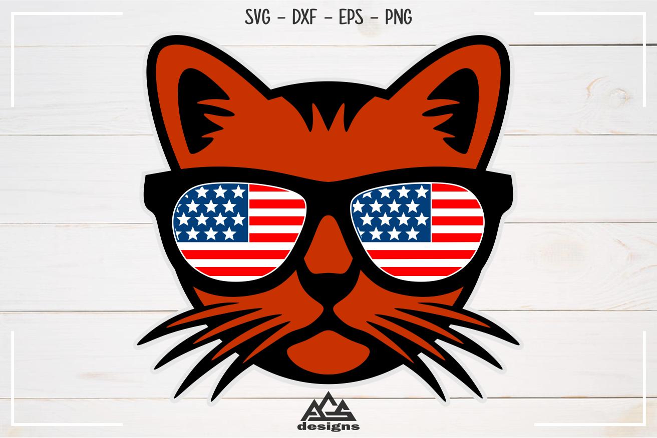 Cat Usa Flag Sun Glasses Svg Design By Agsdesign Thehungryjpeg Com