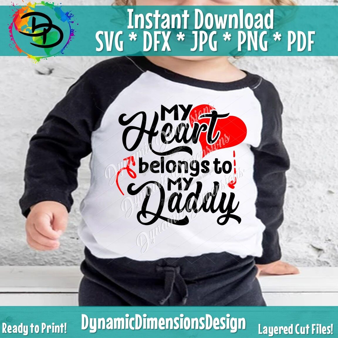My Heart Belongs To Daddy Svg Valentines Day Svg Baby Girl