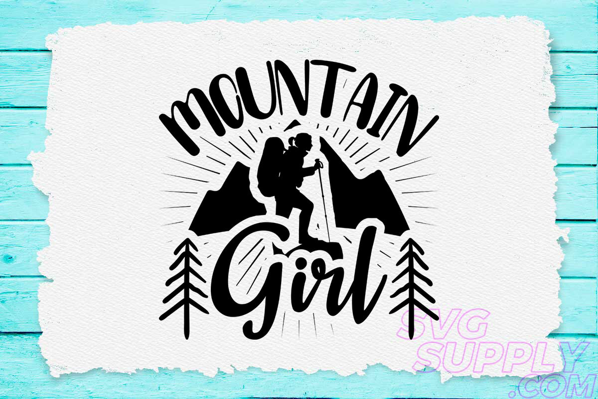 Mountain Girl Svg Design For Adventure Print By Cuttingsvg