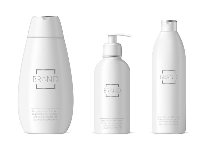Realistic Cosmetic Bottles Shampoo And Moisturizer Packaging