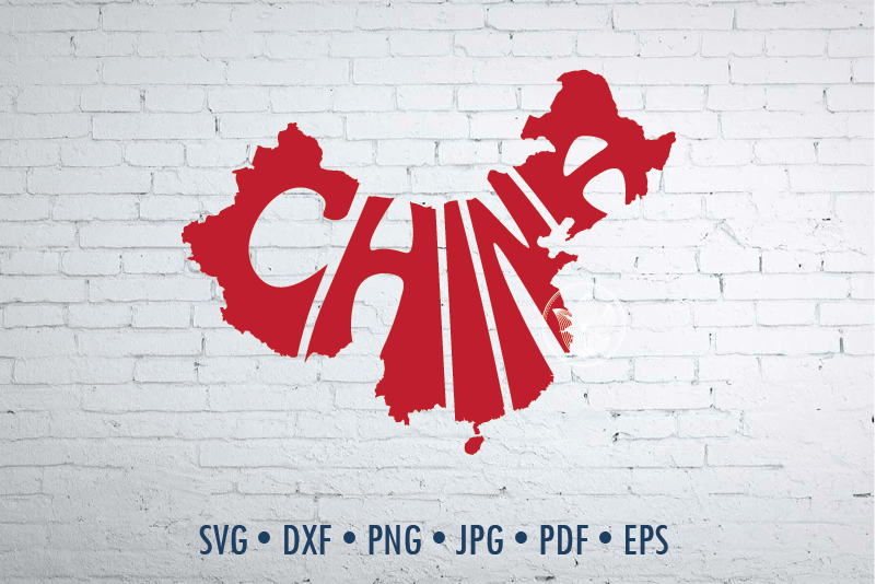 China Word Art In Map Shape Svg Dxf Eps Png Jpg Cut File By