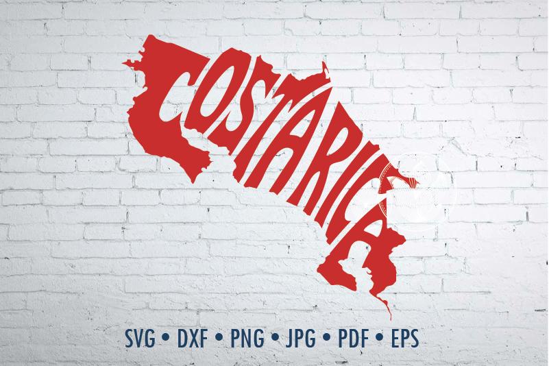 Costa Rica Word Art In Map Shape Svg Dxf Eps Png Jpg By Prettydd