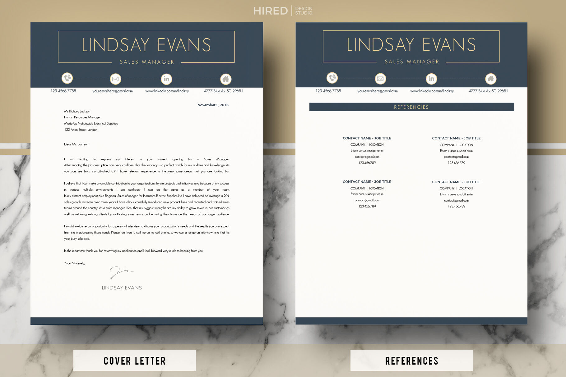 Sales Manager Professional Resume Cv Cover Letter References By Hiredds Thehungryjpeg Com