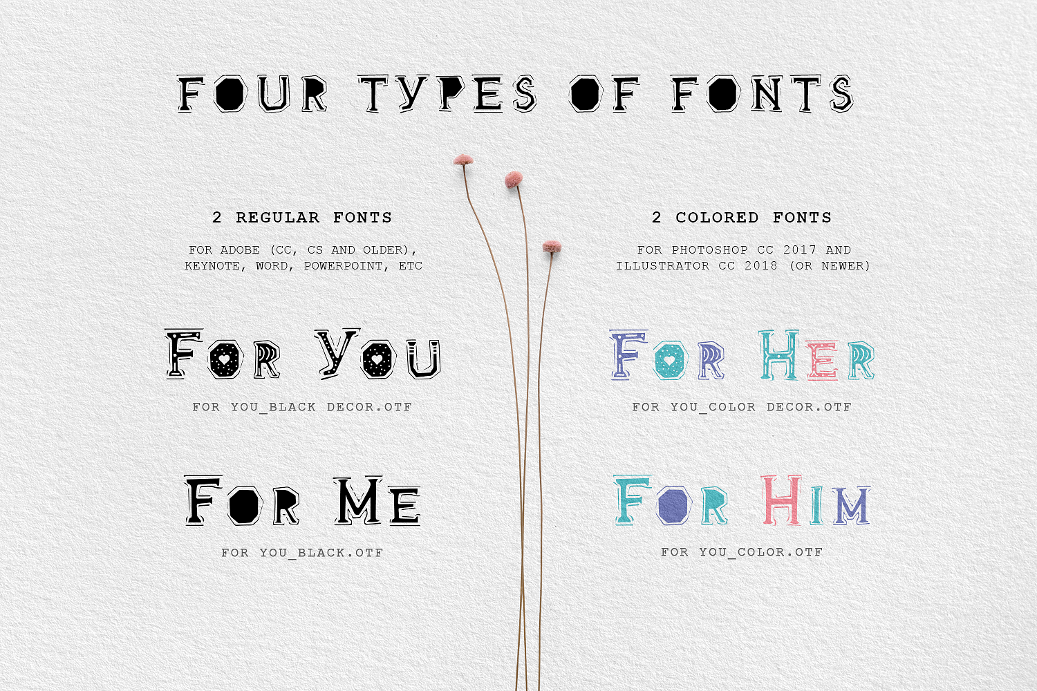 For You Handmade Decorative Font By Cosmic Store Thehungryjpeg Com