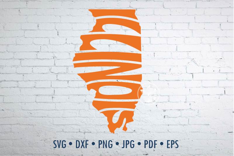 Illinois Word Art In Map Shape Svg Dxf Eps Png Jpg Cut File By