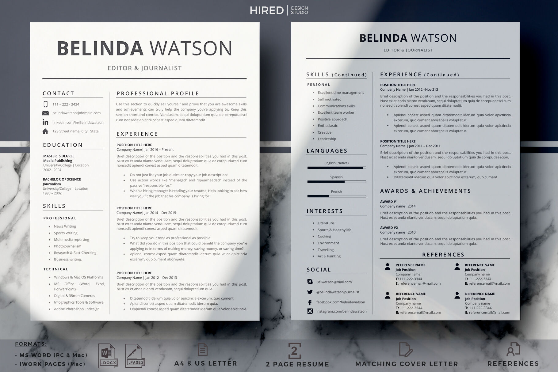 Professional And Modern Resume Design References Page Cover Letter By Hiredds Thehungryjpeg Com
