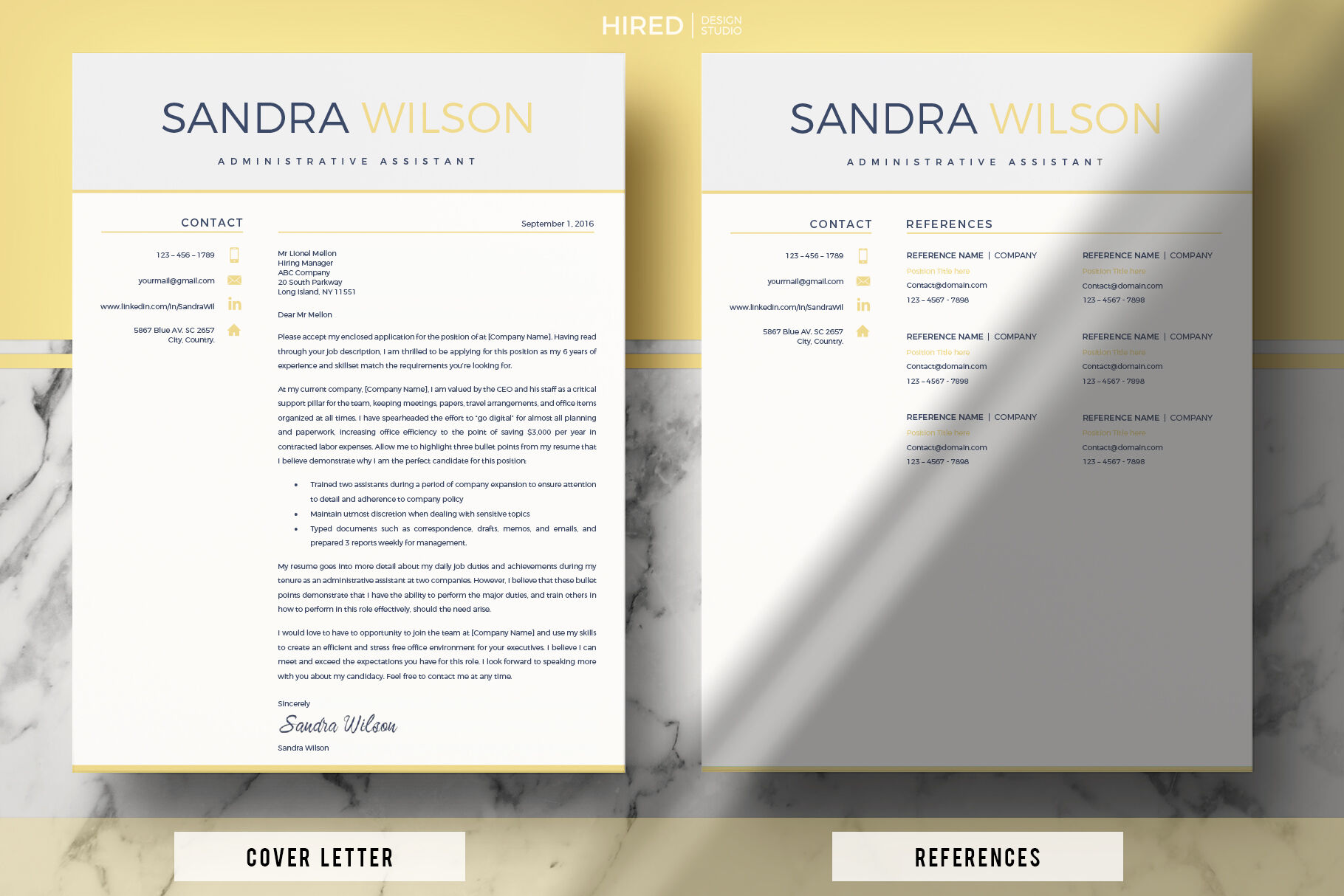 Resume Bundle 3 In 1 Administrative Assistant Resume Cover Letter By Hiredds Thehungryjpeg Com