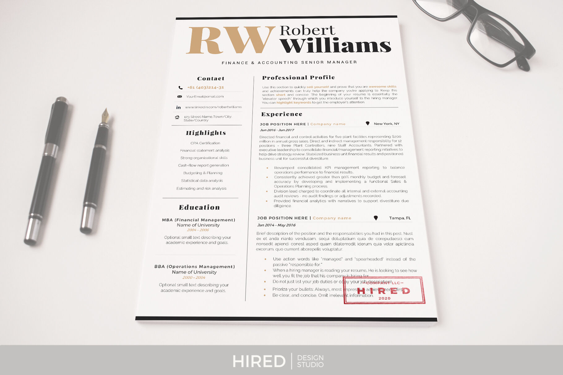 3 Page Resume Template Cover Letter References By Hiredds Thehungryjpeg Com