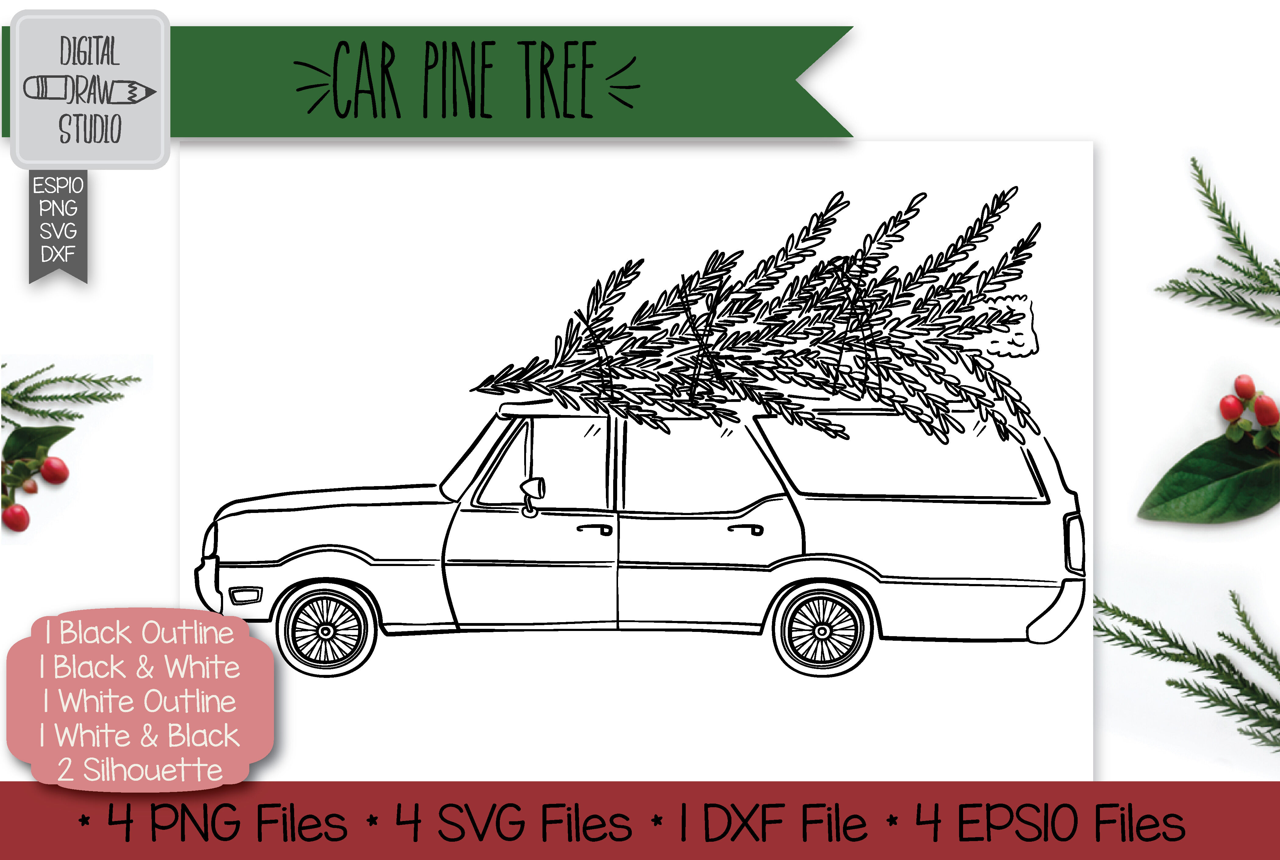 Hand Drawn Station Wagon Car With Christmas Tree On Roof Top