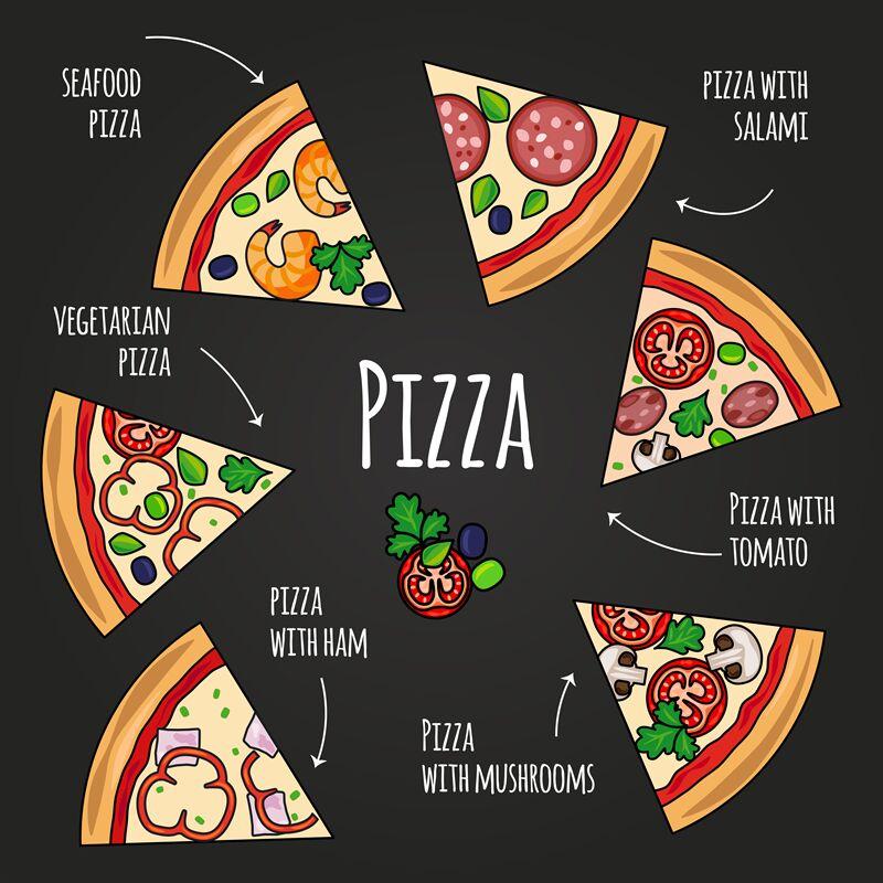 Pizza Slices Blackboard Pizzeria Menu Colorful Pizza Slice Icons