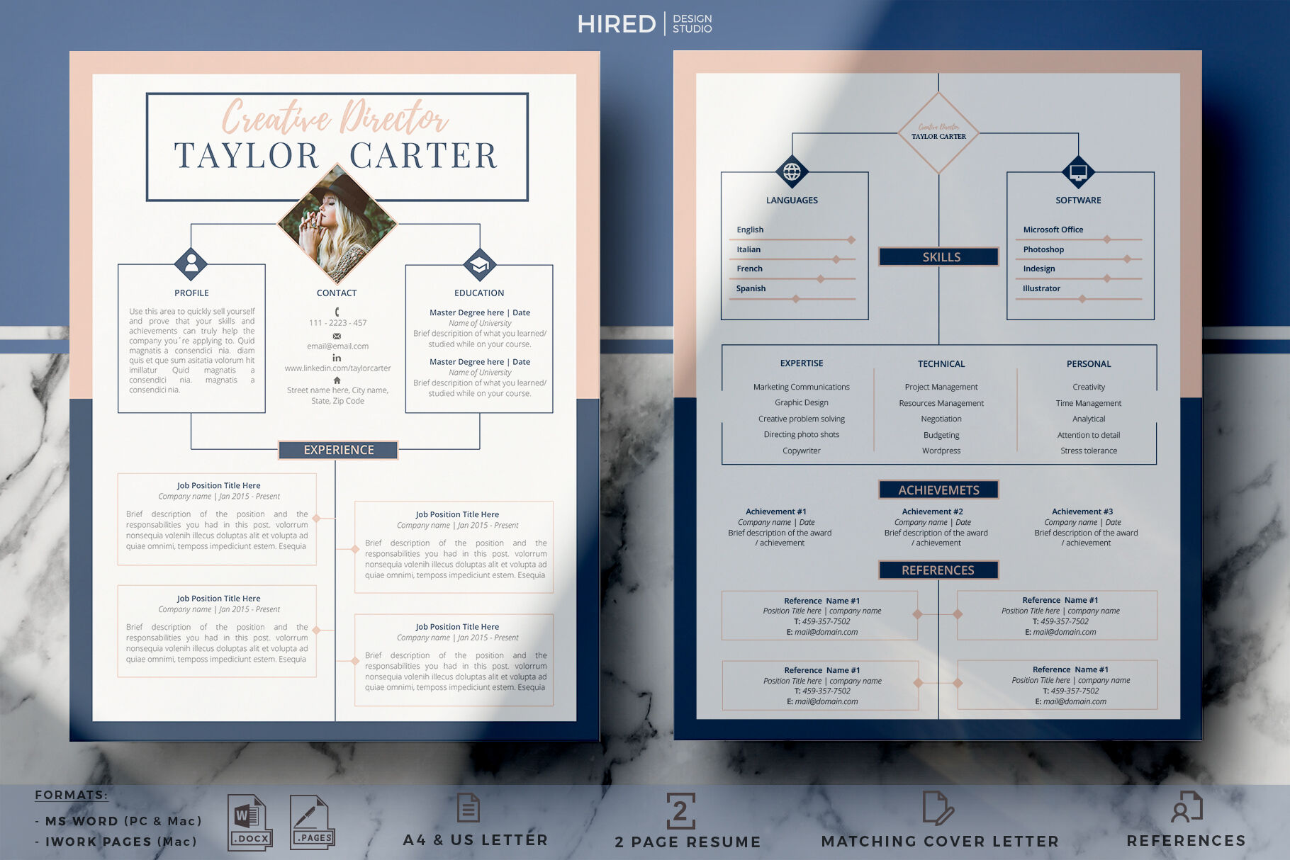Creative Cv Resume Template For Word And Pages Cover Letter Tips By Hiredds Thehungryjpeg Com