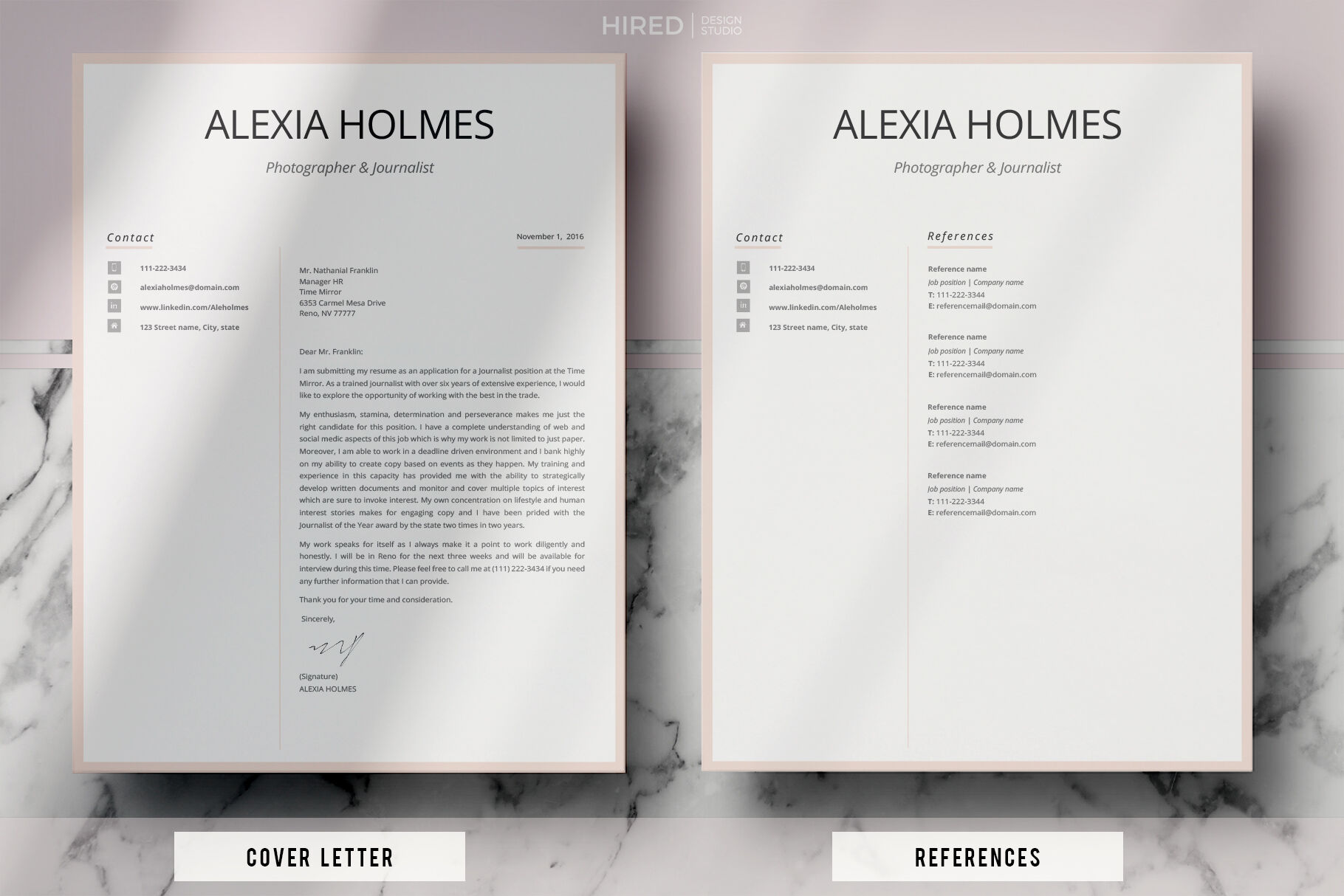 Modern Resume Design Cover Letter Example References Tips By Hiredds Thehungryjpeg Com
