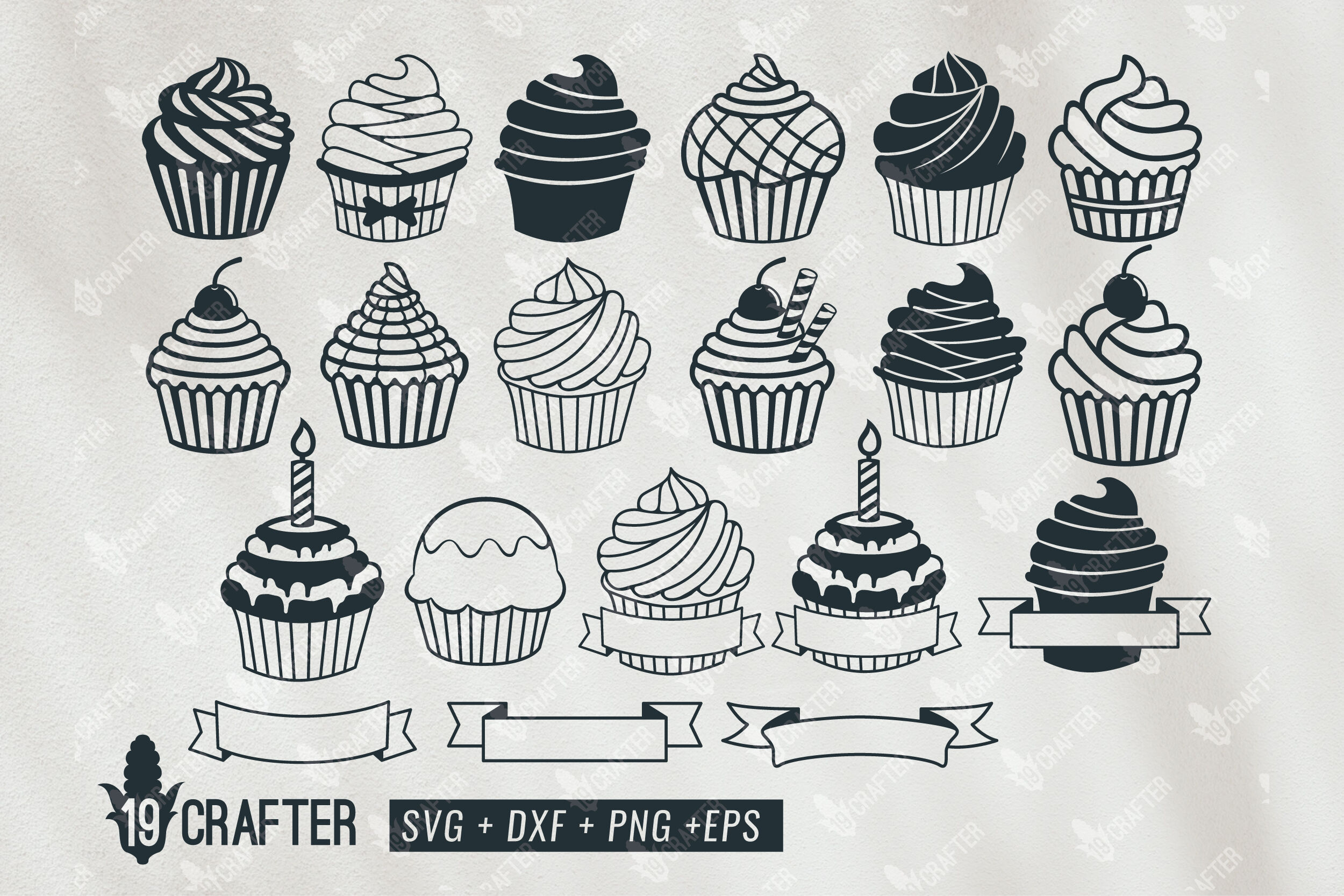 Cupcake Birthday Name Banner Svg Bundle By Greatype19