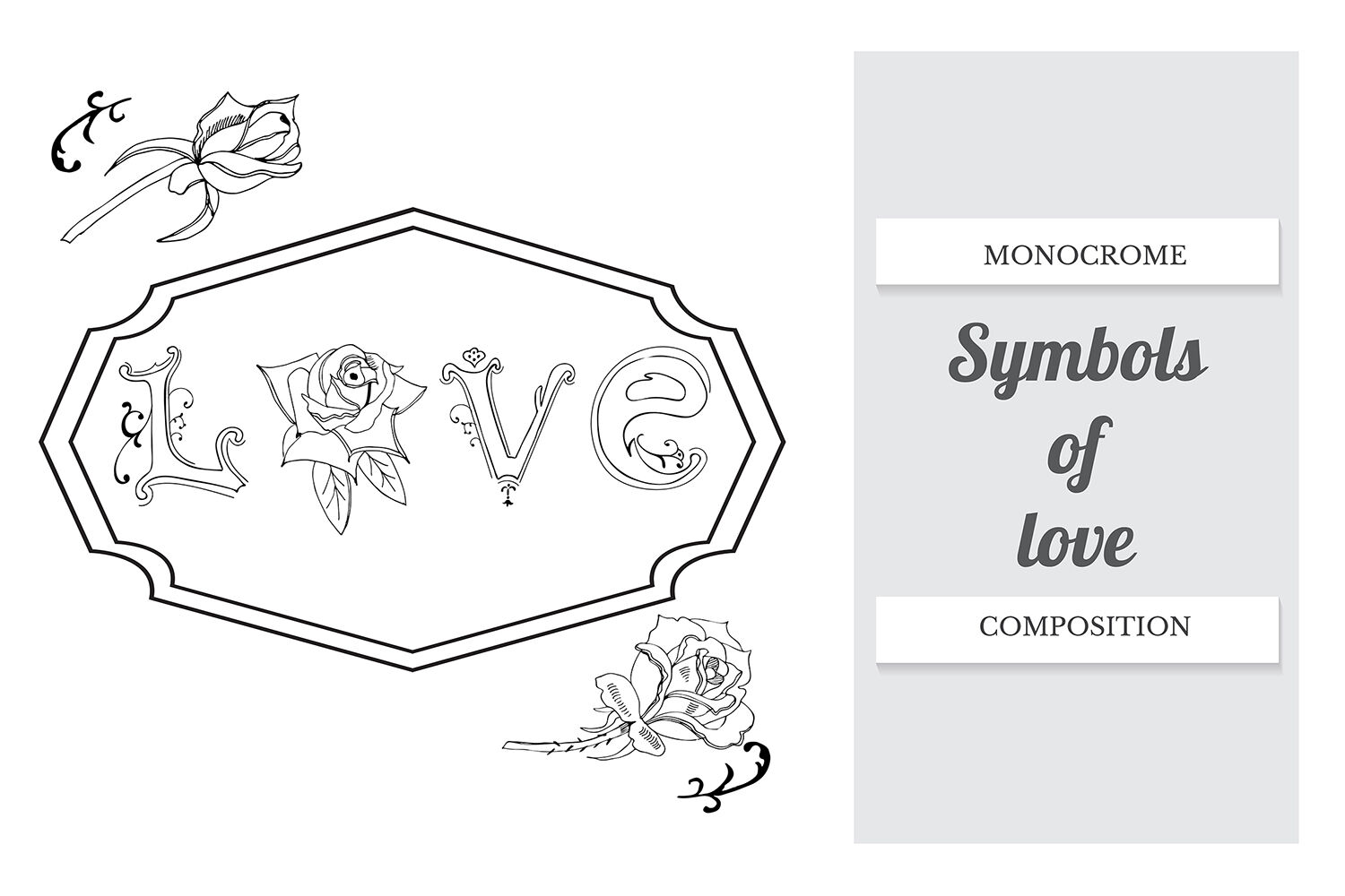 Hand Drawn Set Of Letters Roses And Frame Vector By Mix4garden