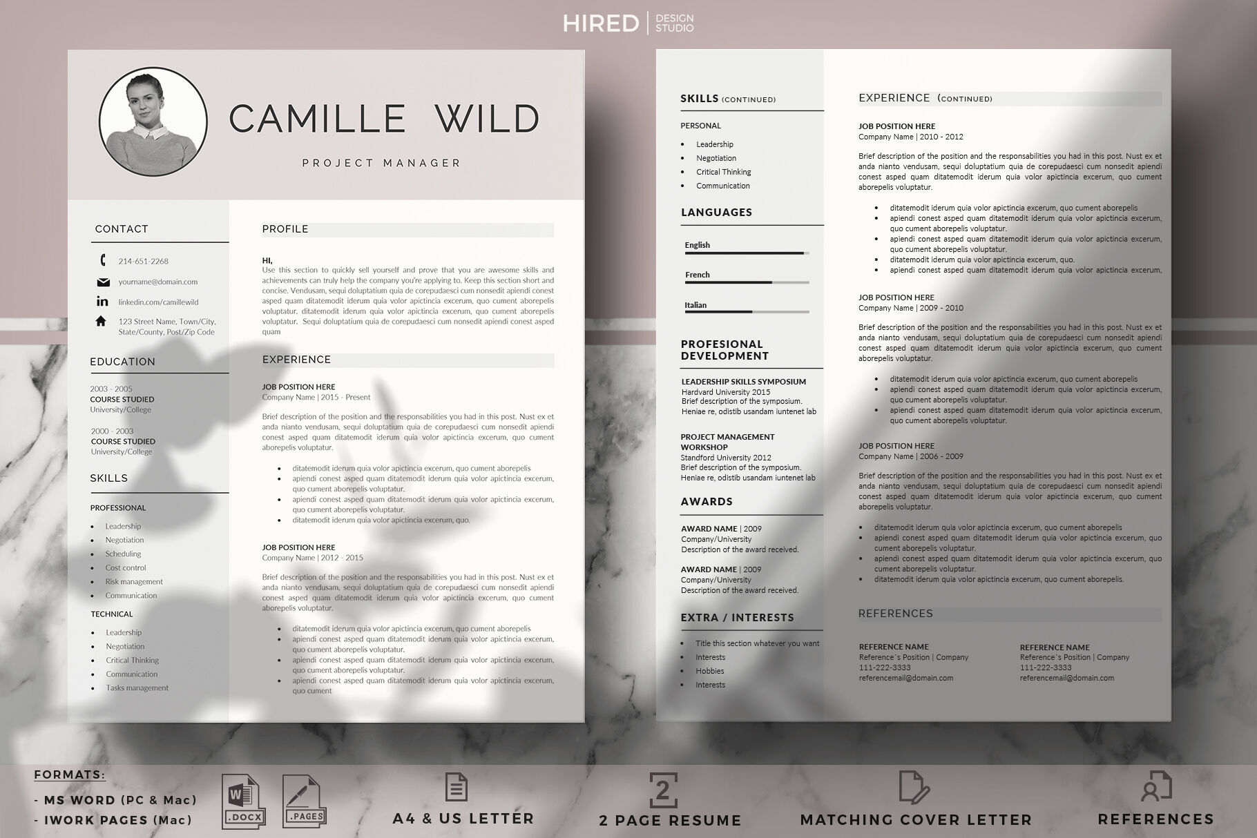 Professional Cv Template For Project Managers 1 2 Page Resume By Hiredds Thehungryjpeg Com