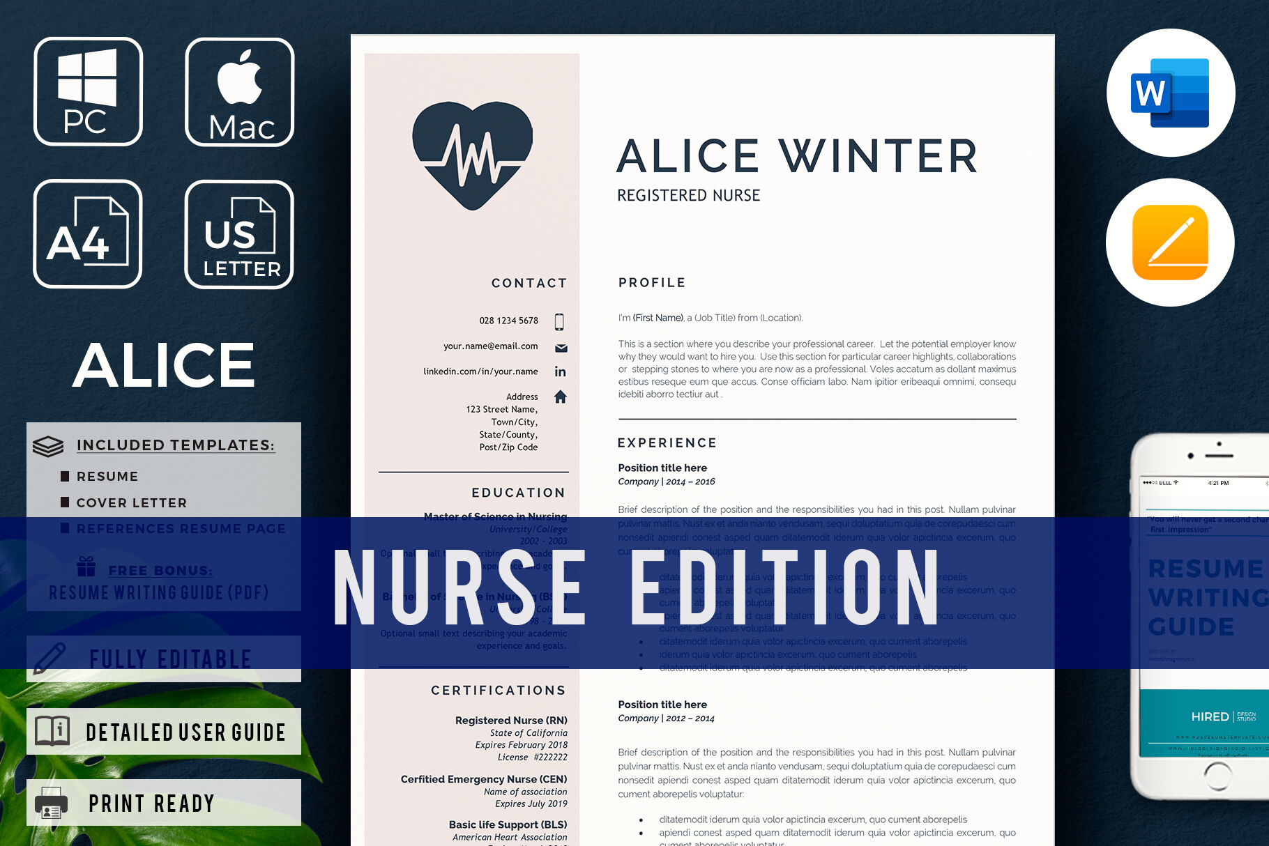 Rn Nurse Resume Template With References And Cover Letter By Hiredds Thehungryjpeg Com