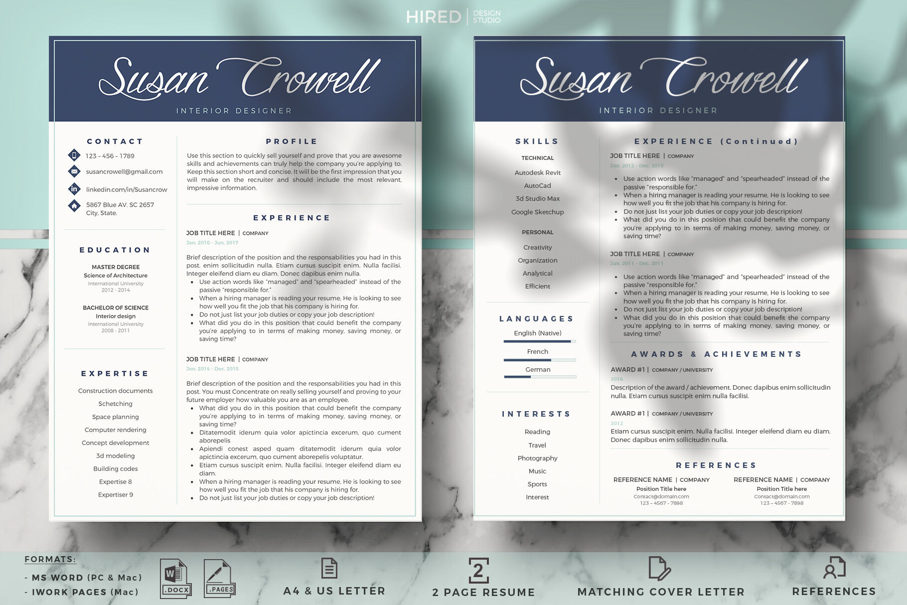 Creative Modern Resume Template Cover Letter For Ms Word