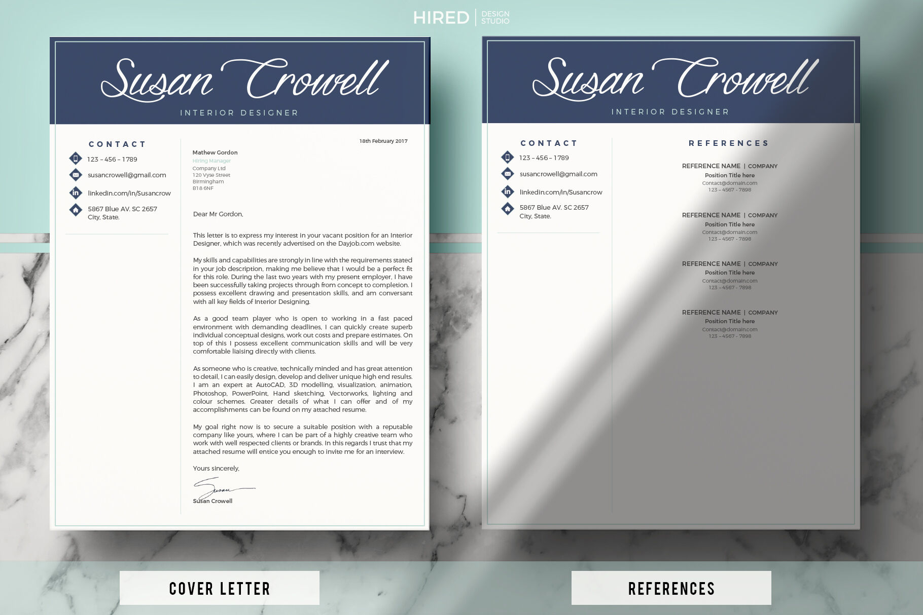 Creative Modern Resume Template Cover Letter For Ms Word Pages By Hiredds Thehungryjpeg Com