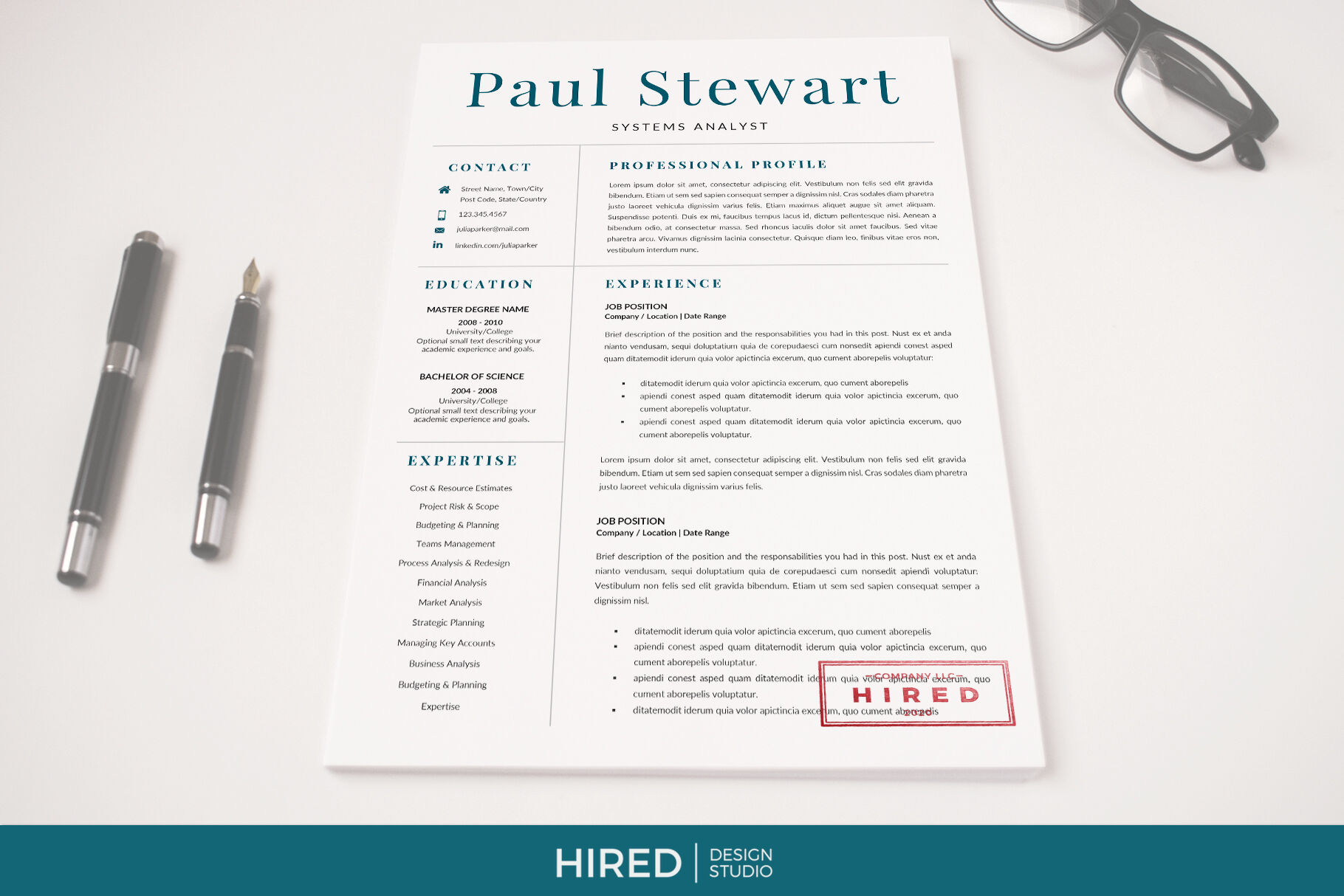 professional cover letter and 2 column resume with