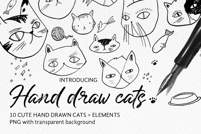 Hand Draw Cute Cats Elements By Lola Calderon Thehungryjpeg Com