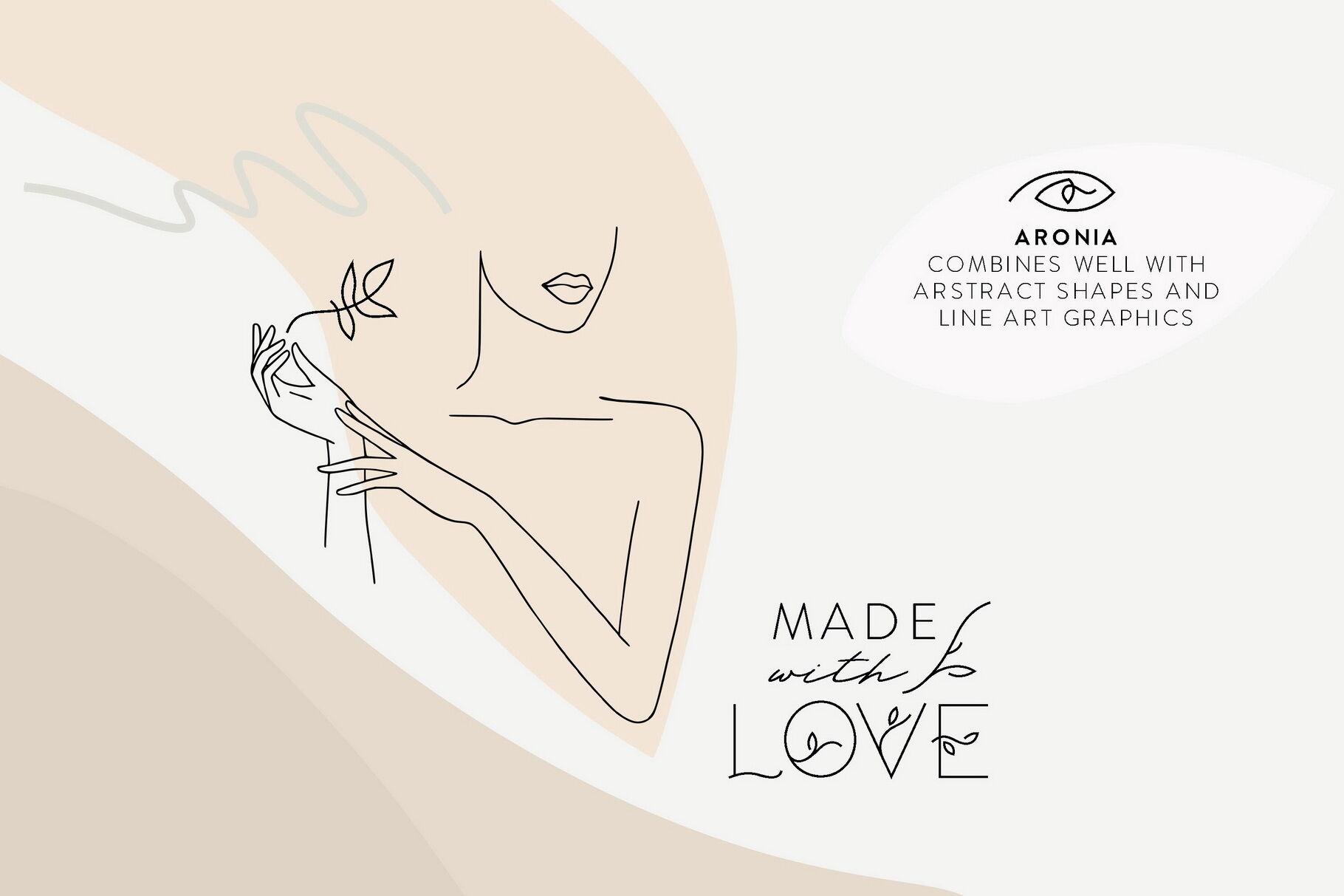 Aronia Thin Line Logo Font By Struvictory Art Thehungryjpeg Com