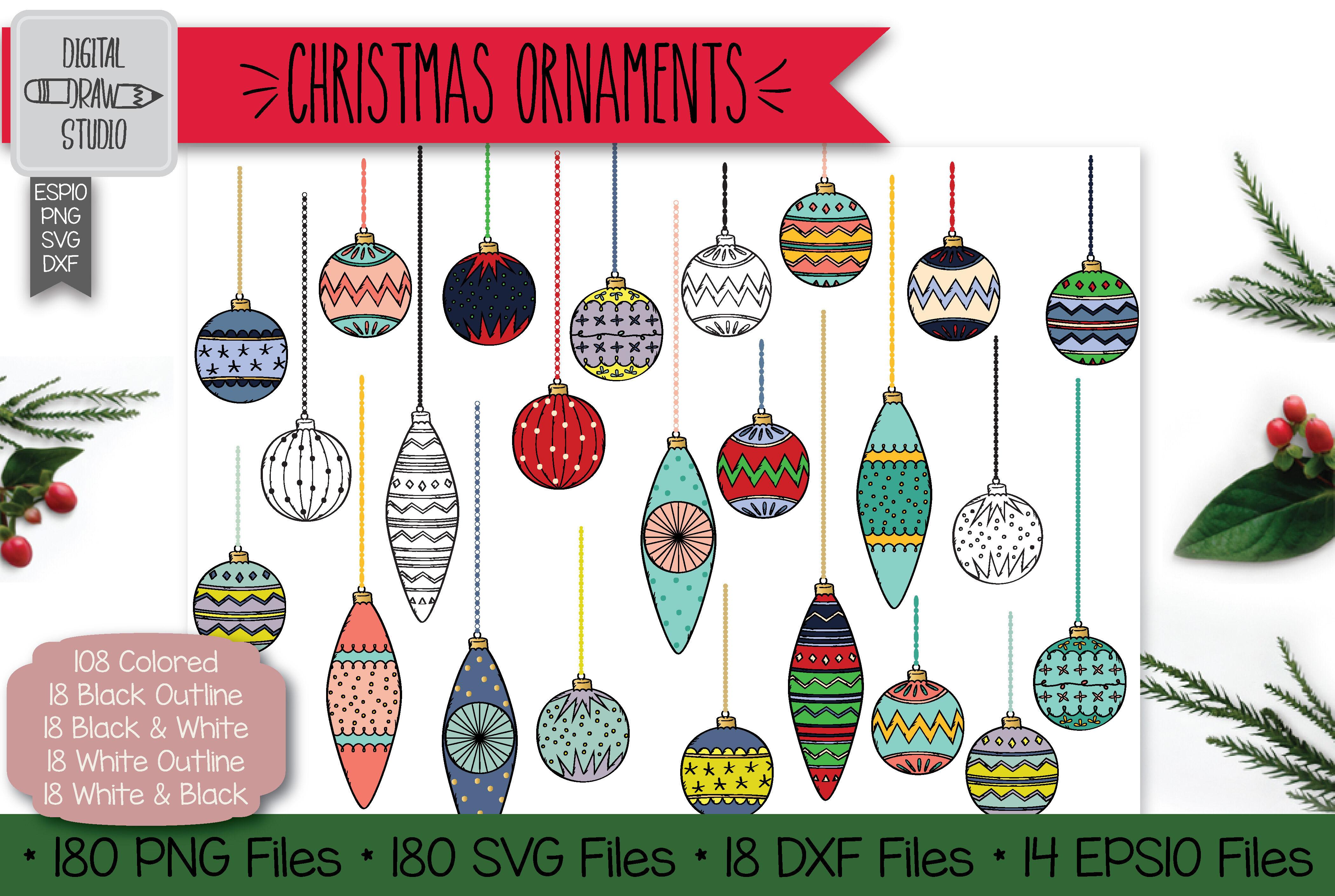 180 Hand Drawn Christmas Ornaments Clip Art Tree Balls