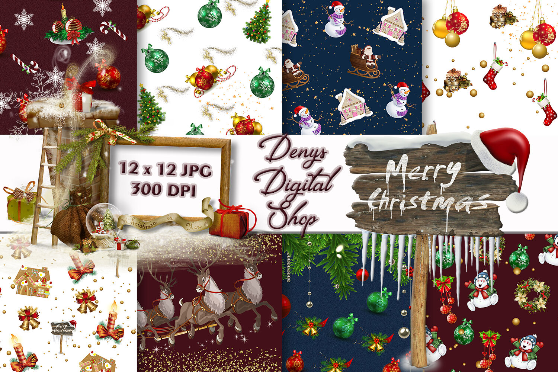 Christmas Digital Paper Christmas Digital Background Christmas