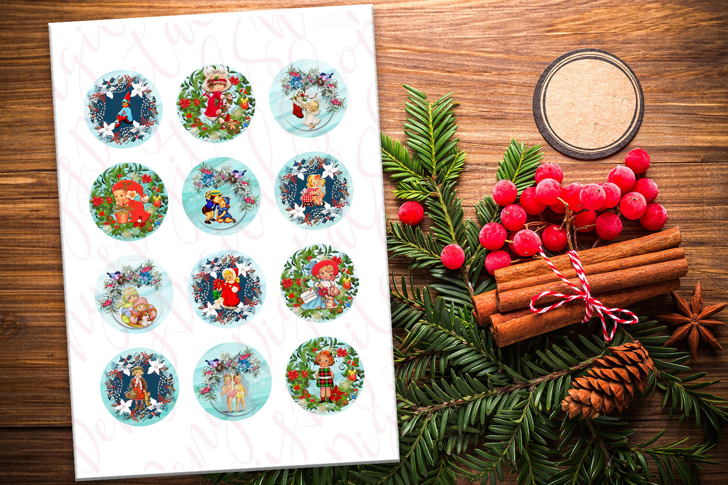 Christmas Vintage Digital Collage Sheets Circle Images By