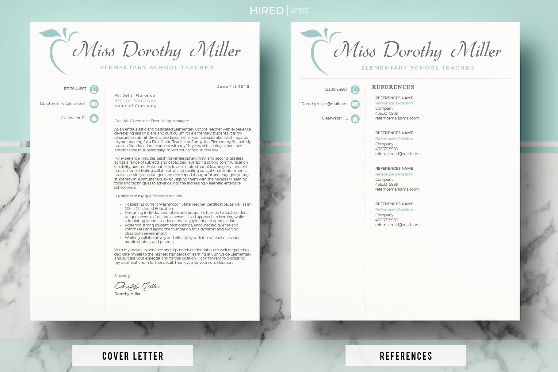 Elementary Teacher Cv Resume Cover Letter References Free Bonus By Hiredds Thehungryjpeg Com