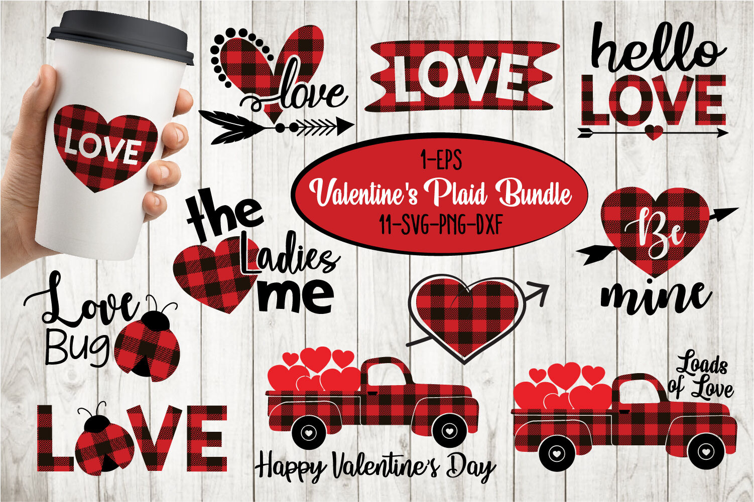 Valentines Quotes Buffalo Plaid Bundle Svg By All About Svg