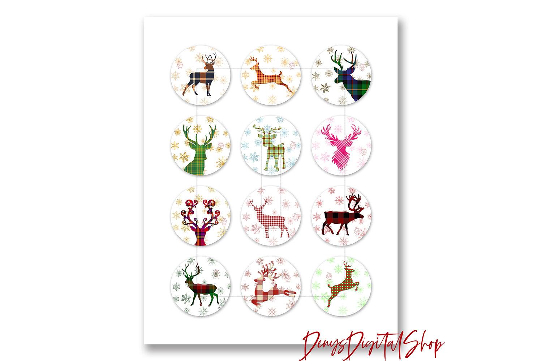 Christmas Digital Collage Sheet Reindeer Printable Images By