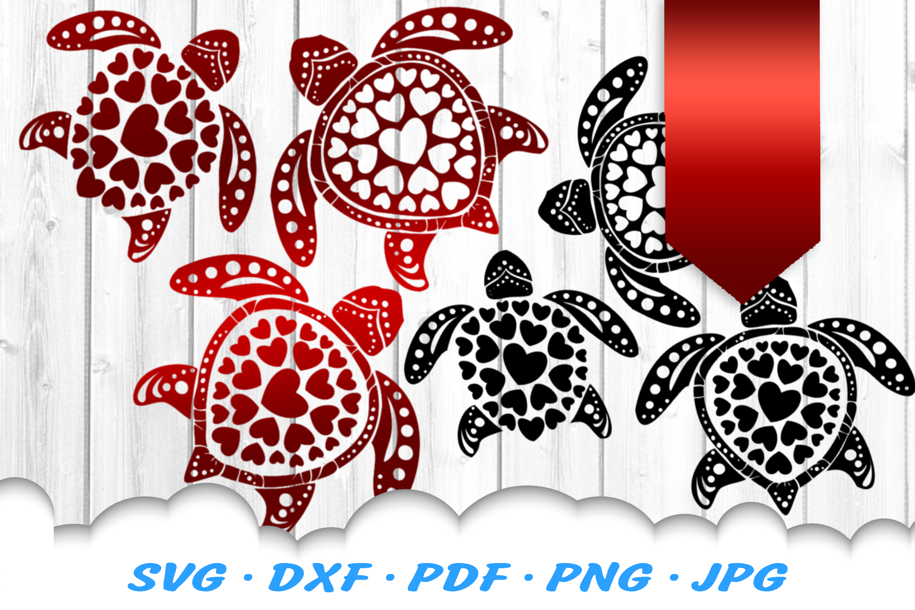Valentines Sea Turtle Heart Mandala Svg Dxf Cut Files Bundle By