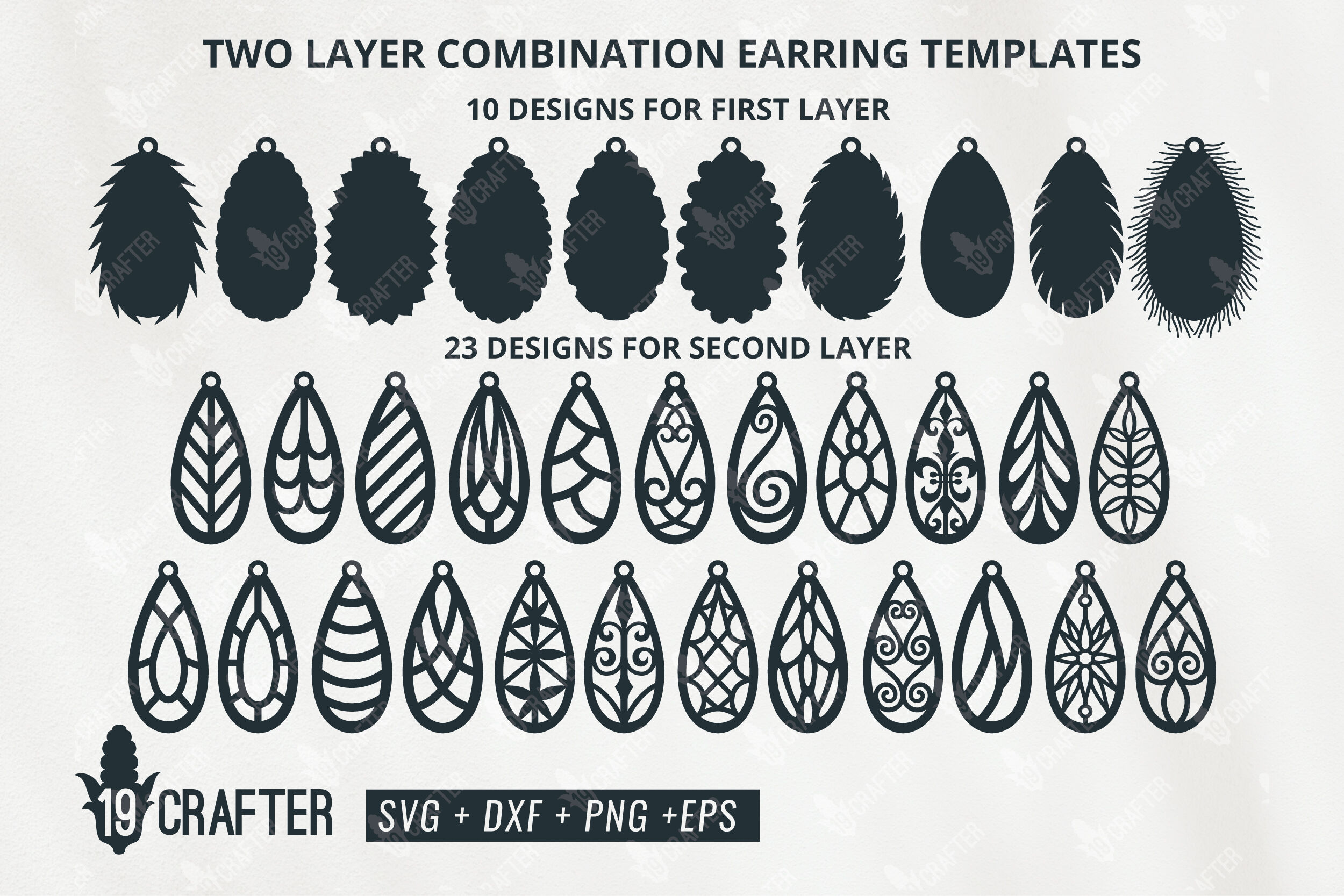 Two Layer Tear Drop Shape Earring Templates Svg Bundle By