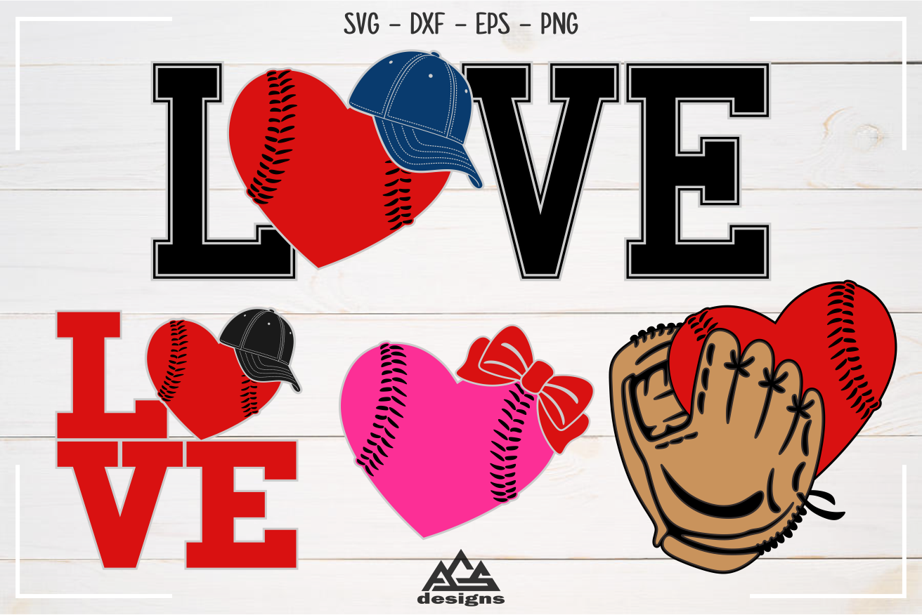 Baseball Ball Hat Glove Love Sport Svg Design By Agsdesign