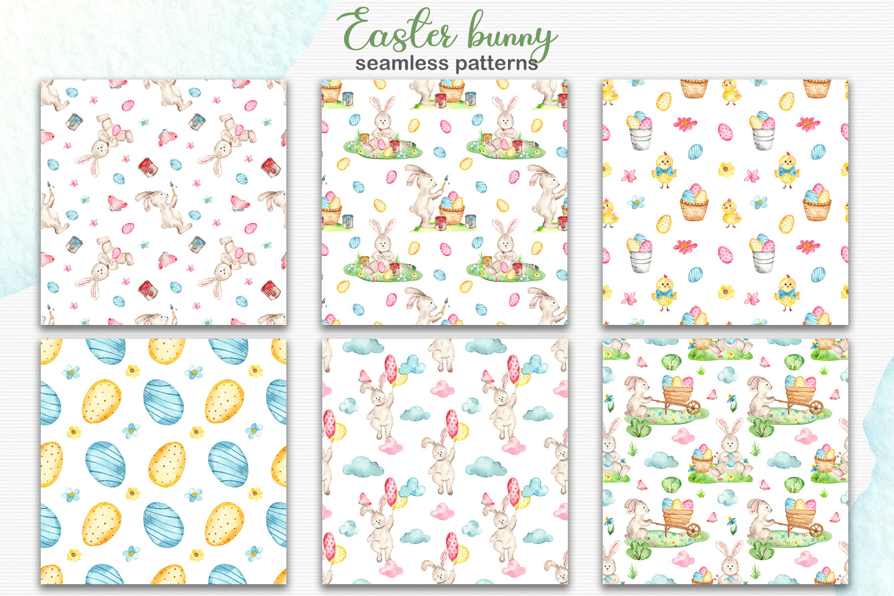 Watercolor Easter Bunny Clipart Cards And Seamless Patterns By