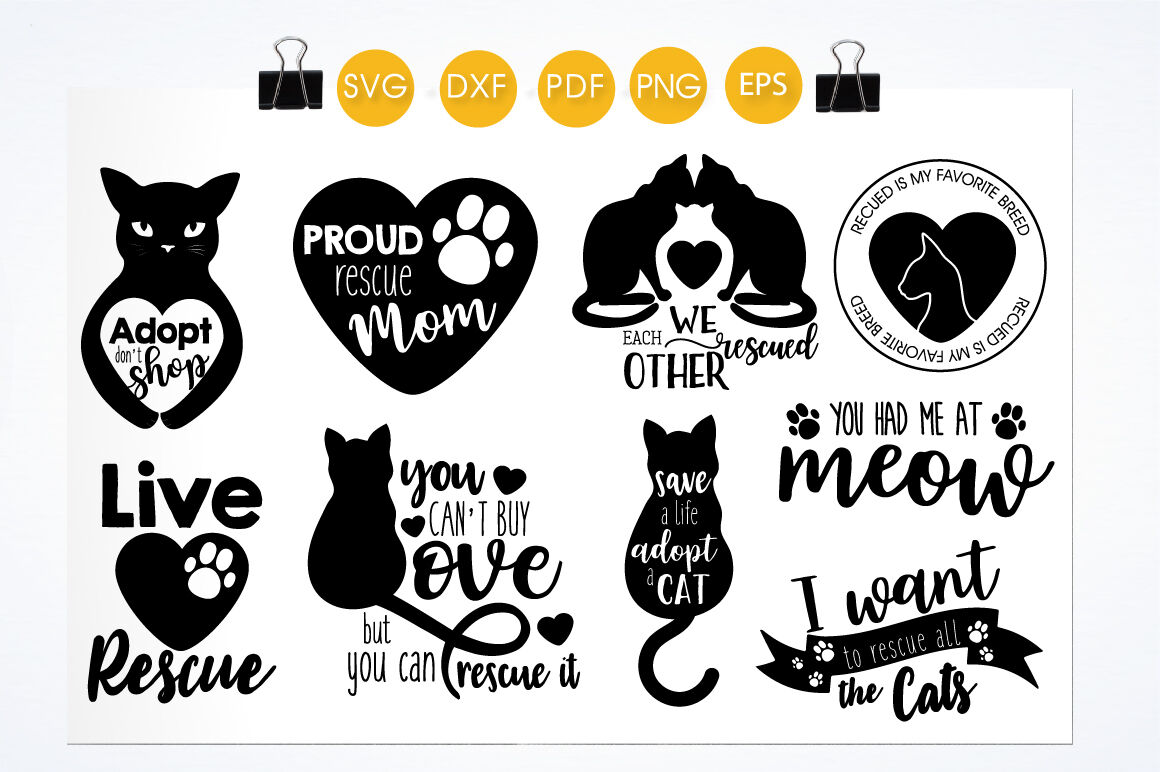 Cat Rescue Bundle Cutting Files Svg Dxf Pdf Eps Included Cut