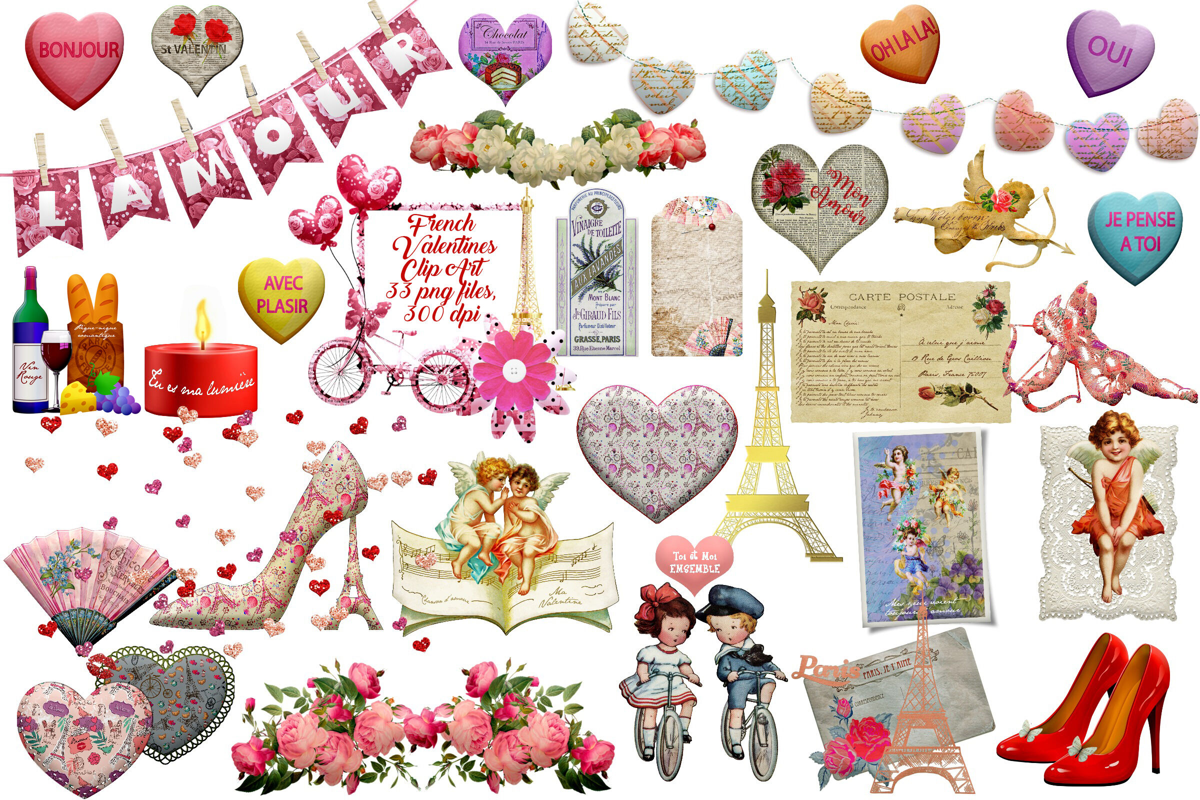 French Valentines Clip Art By Me And Amelie Thehungryjpeg Com