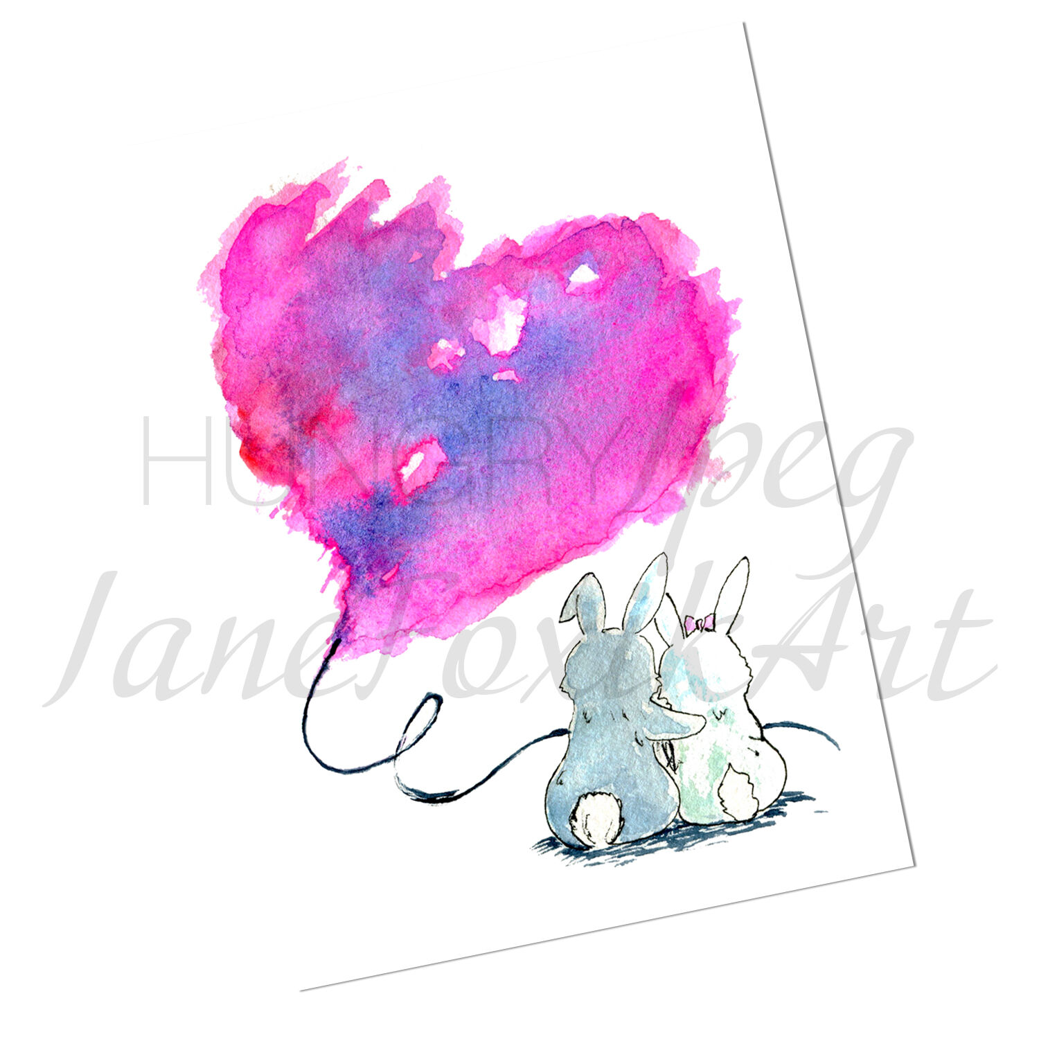 Watercolor Illustration Of Two Bunnies In Love Romantic Wedding