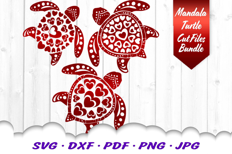 Valentines Mandala Sea Turtle Heart Svg Dxf Cut Files Bundle By
