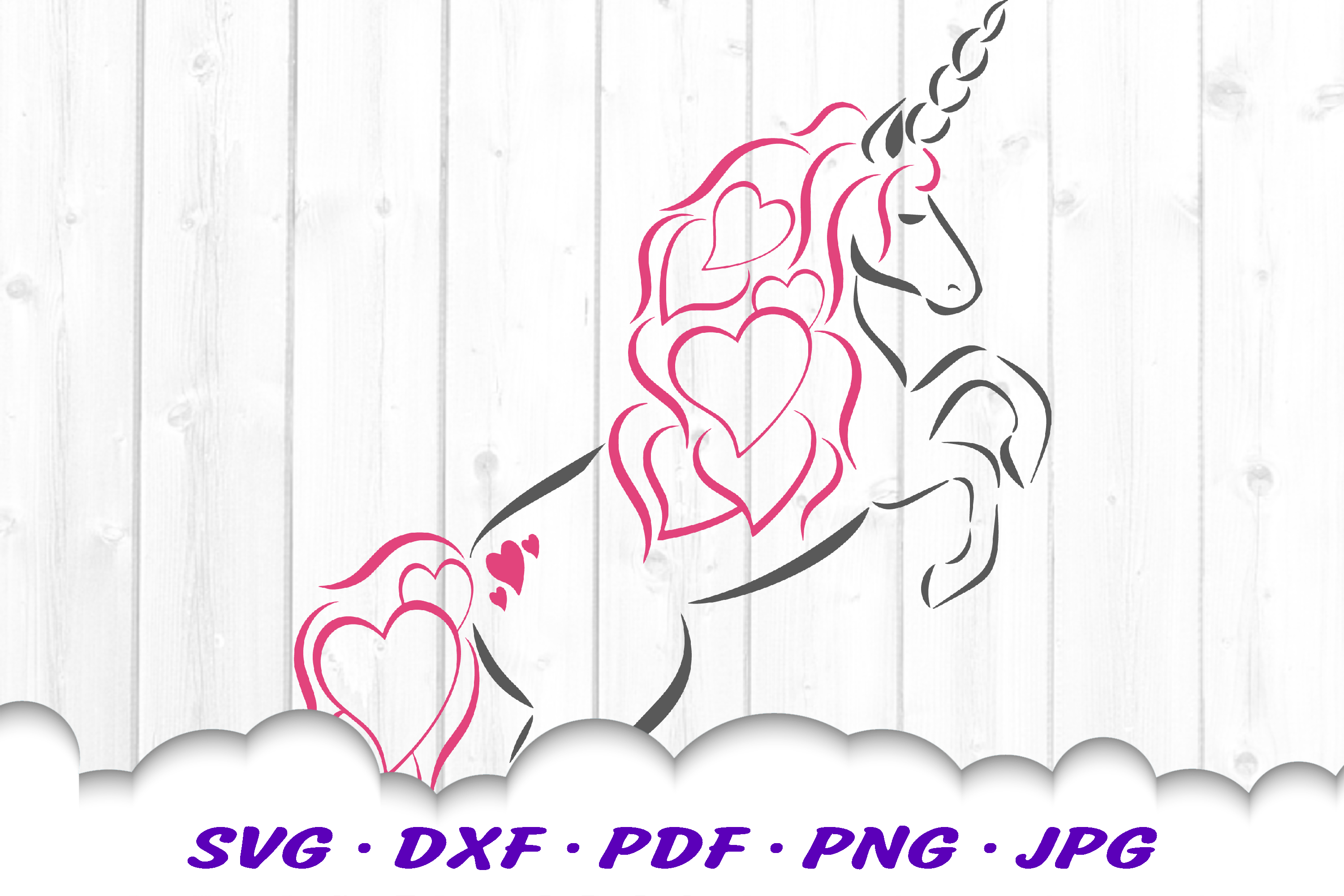Valentines Unicorn Hearts Svg Dxf Cut Files By Cloud9designsvg