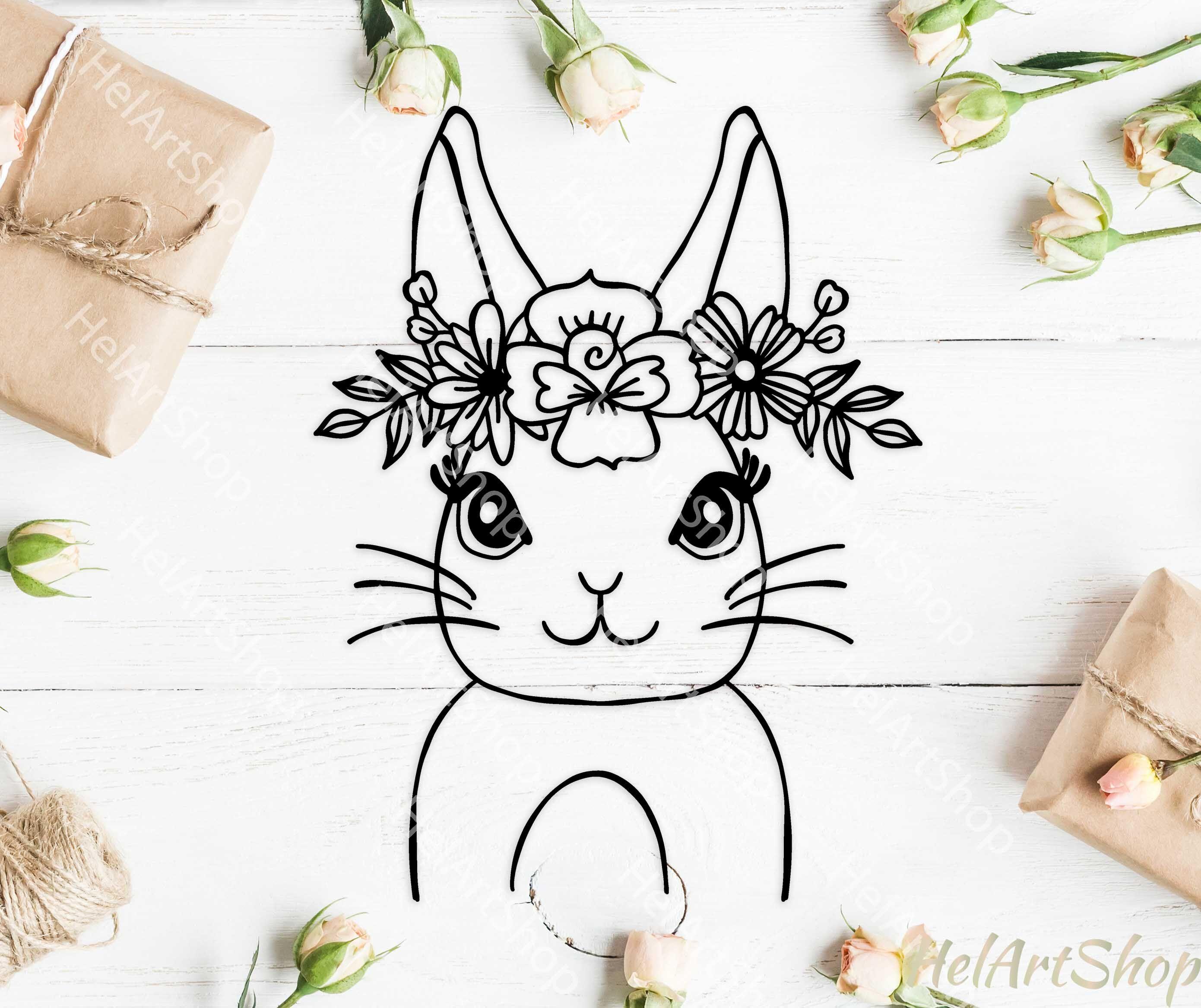 Rabbit Svg Easter Bunny Svg Floral Rabbit Svg Bunny Face By