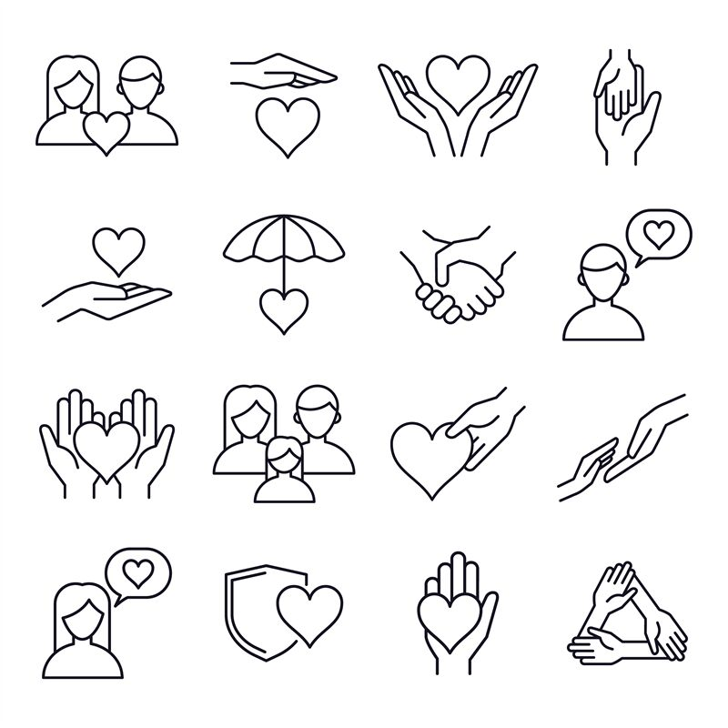 Love And Kindness Heart Line Icons Friends Family Relationships