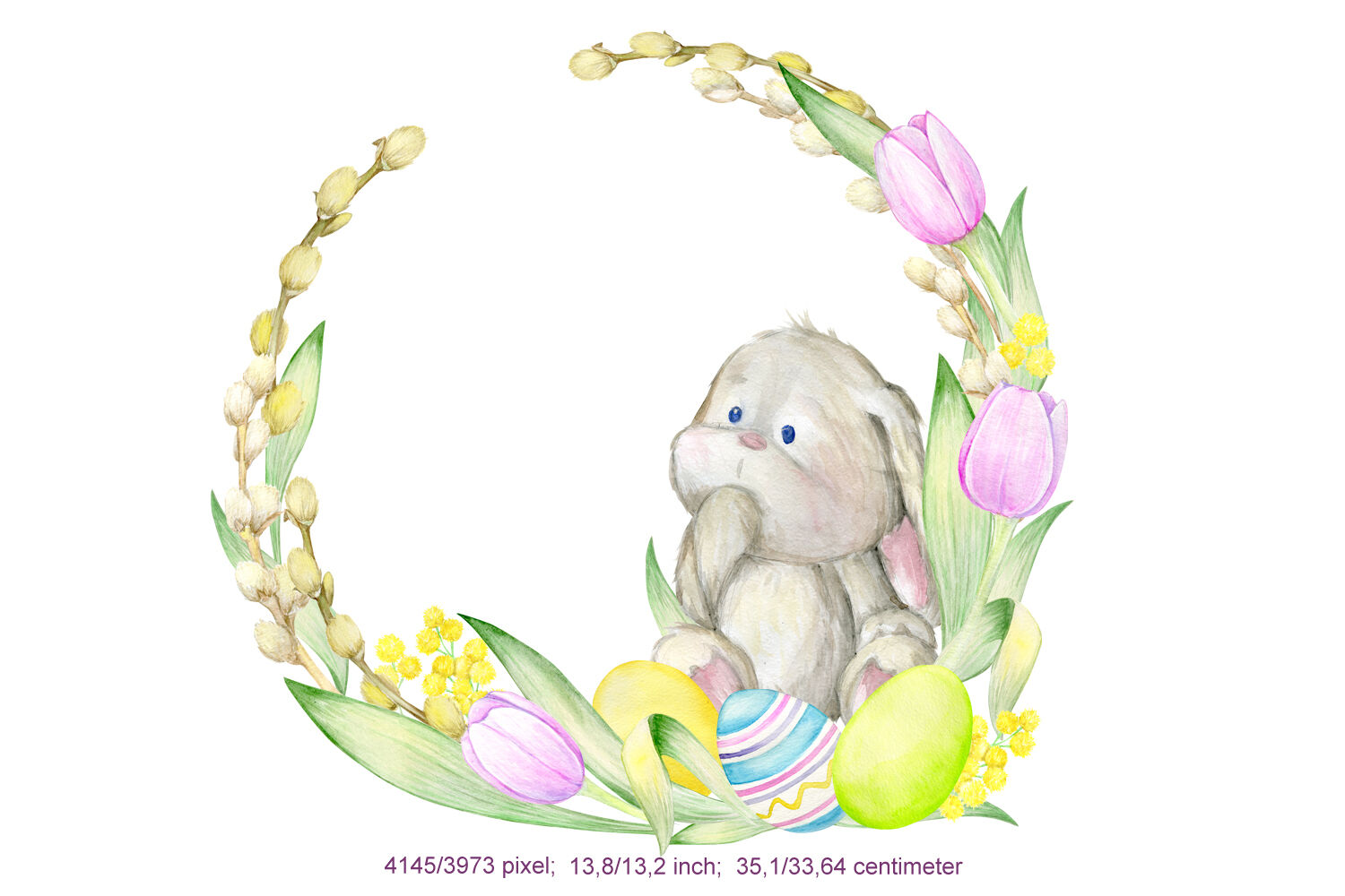 Watercolor Easter Bunny, Butterfly, Egg Clipart. Hand ...