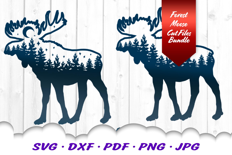 Moose Forest Moon Svg Dxf Cut Files Bundle By Cloud9designsvg
