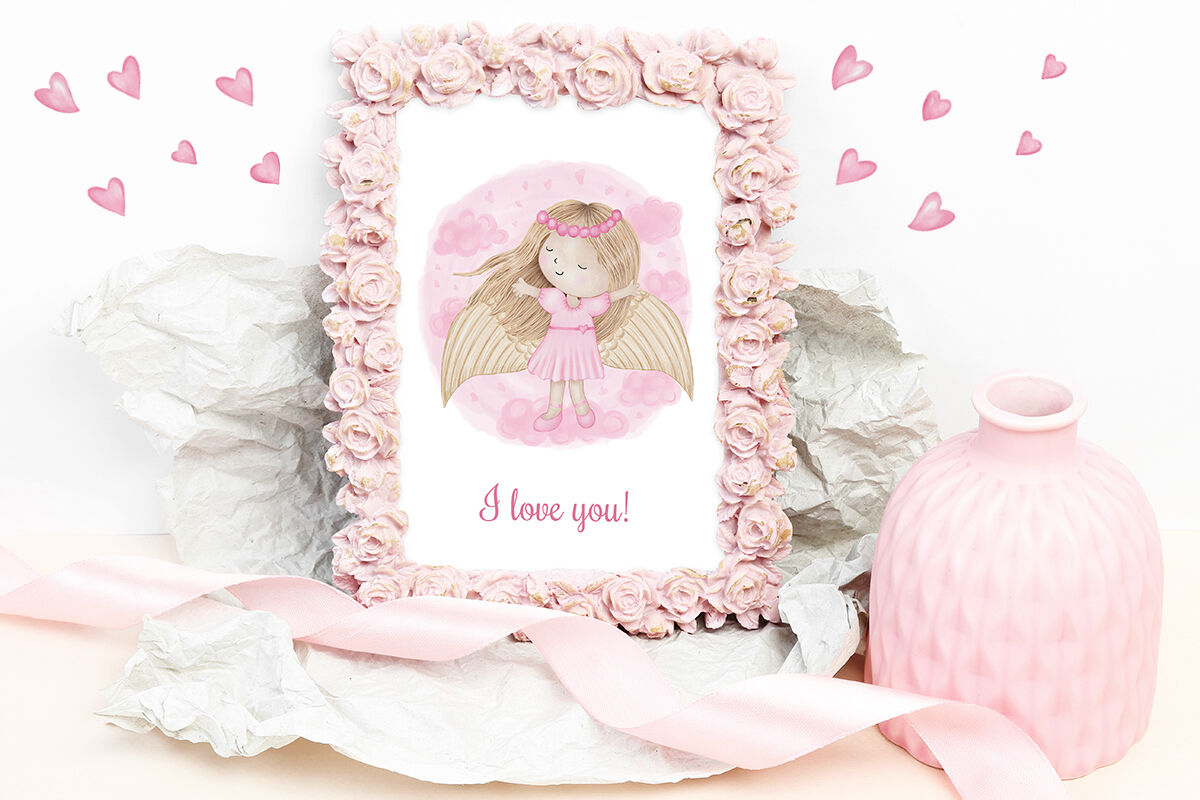Angel Girl Wings Heart Love Baby Greeting Card Cartoon Hero By Paw