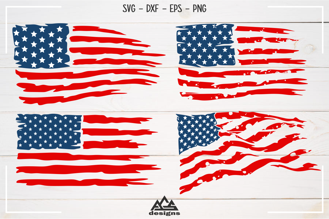 Usa Flag Distressed Svg Design By Agsdesign Thehungryjpeg Com