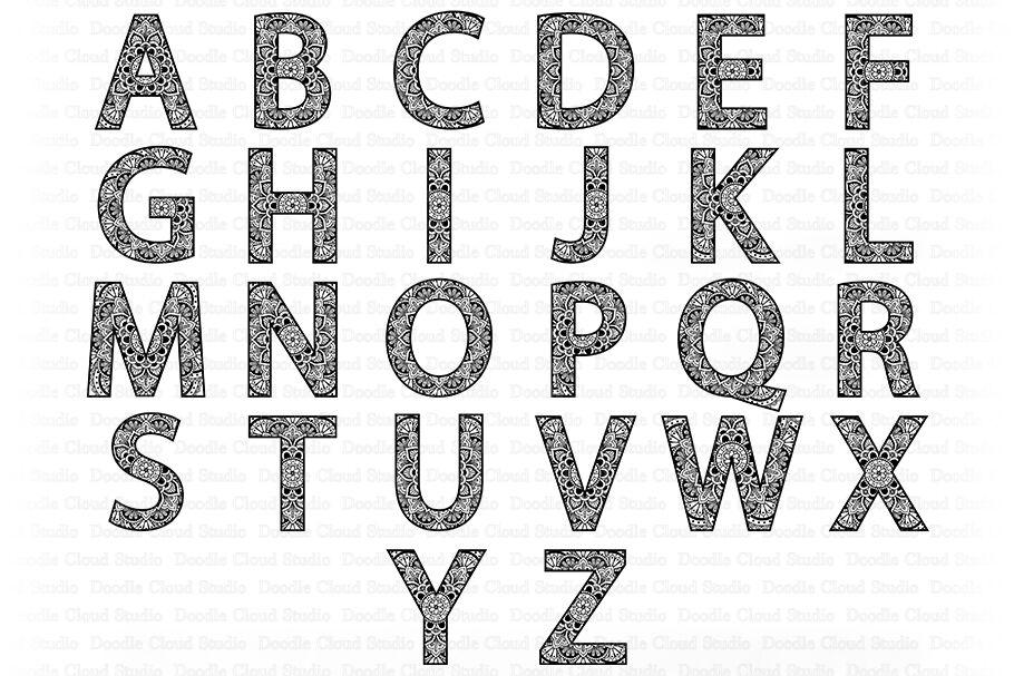 Download Mandala Alphabet SVG, Mandala Letters, Alphabet Clipart ...