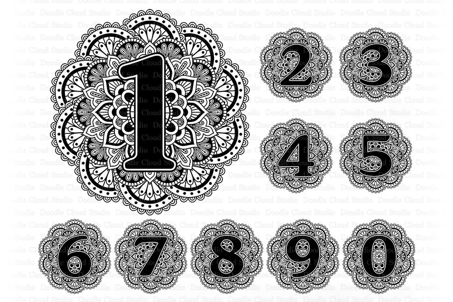 Mandala Numbers Svg Number Svg Set Of 10 Numbers Clipart By
