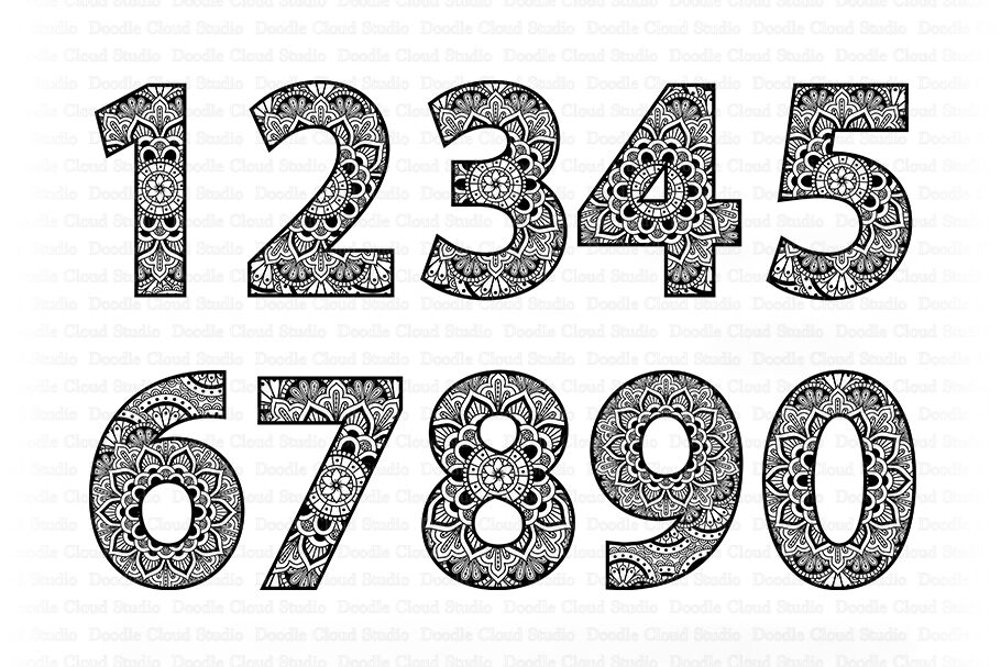 Mandala Numbers Svg Zentangle Numbers Svg Files By Doodle Cloud